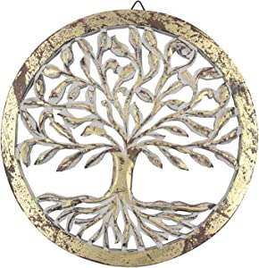 DharmaObjects Handcrafted Wooden Tree of Life Wall Decor Hanging Art (Gold)