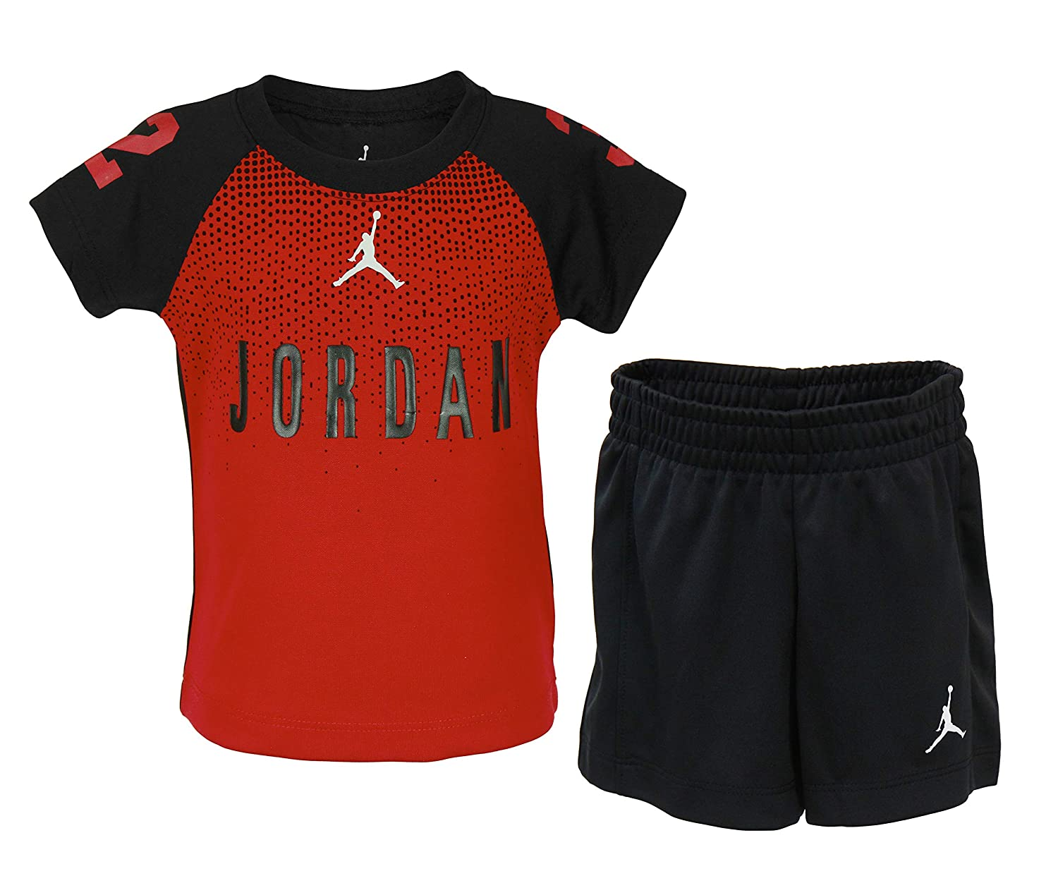 00803f4a6f6a22 Amazon.com  NIKE Baby Boys Jordan Two Piece 23 Jersey   Color Block Mesh  Shorts Set - Black (12M)  Clothing