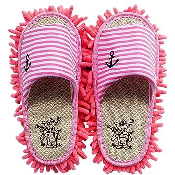 SMS microfibra chenilla rayas patrón Lazy Zapatillas fregona desmontable zapatos de limpieza Limpiador de suelo, Rosa, talla única: Amazon.es: Hogar