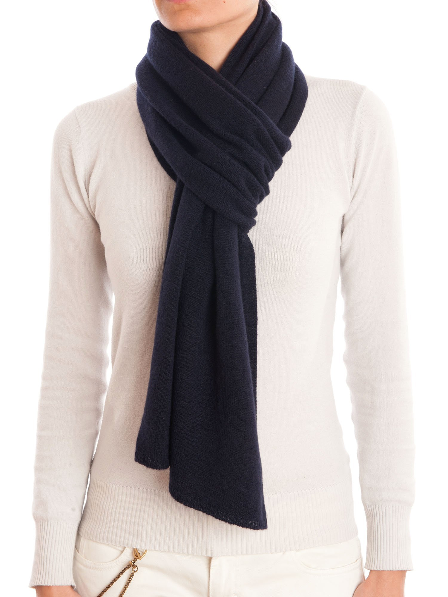 Dalle Piane Cashmere - Scarf 100% cashmere - Made in Italy - Woman/Man, Color: Blue, One size