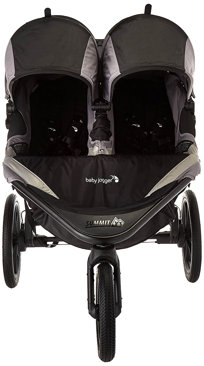 Baby Jogger Summit X3 Double Jogging Stroller – 2016 Air-Filled Rubber Tires All-Wheel Suspension Quick Fold Jogging Stroller, Black Gray