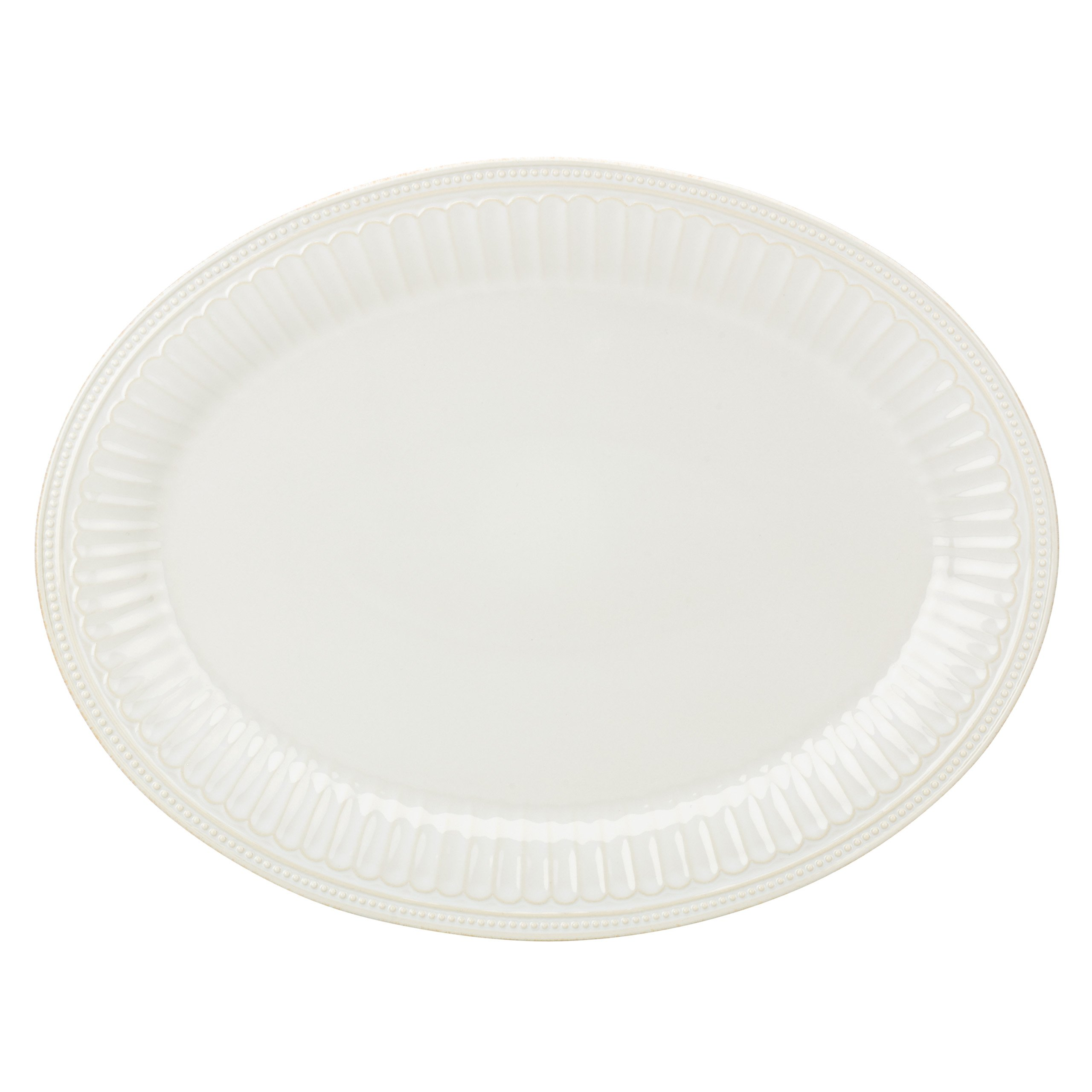 Lenox French Perle Groove Oval Platter, White
