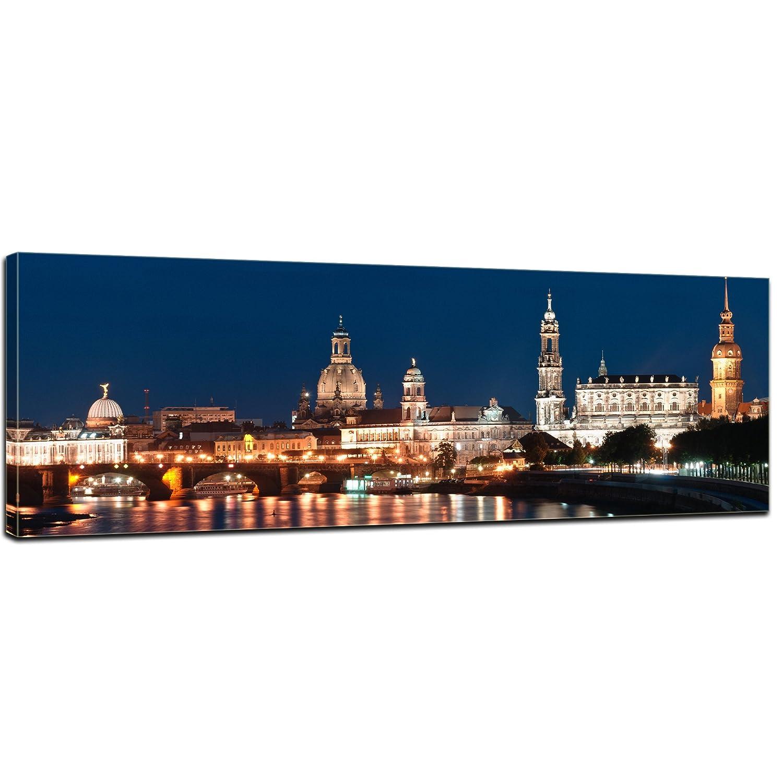 Kunstdruck - Dresden Skyline bei Nacht - Deutschland - Bild auf Leinwand - 160x50 cm - Leinwandbilder - Städte & Kulturen - Sachsen - Elbe - Altstadt - beleuchtet