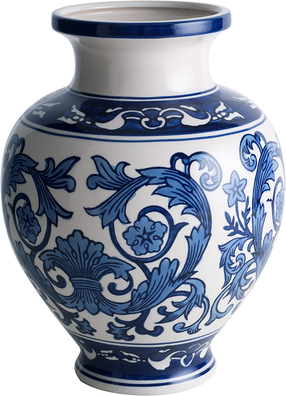 Emenest Cobalt Porcelain Ceramic Vase – Blue & White Vase Table Floor Decorative Centerpiece for The Home, Garden & Wedding Halls Beautiful Decor- Ideal Floral Indoor & Outdoor Ornamental Gift