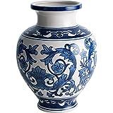 Cobalt Blue and White Porcelain Vase, Decorative Centerpiece for Home & Garden
