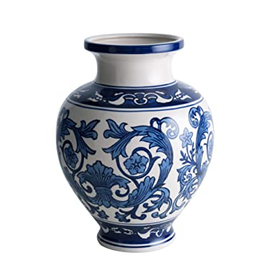 Zeesline Cobalt Blue White Porcelain Vase, Decorative Centerpiece Home & Garden