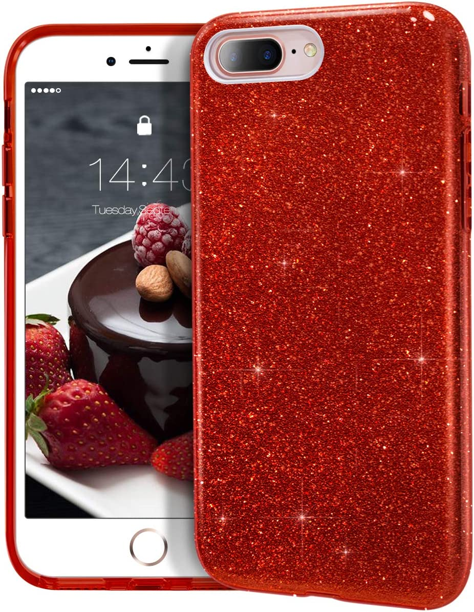 """MATEPROX iPhone 8 Plus case,iPhone 7 Plus Glitter Bling Sparkle Cute Girls Women Protective Case for iPhone 7 Plus/8 Plus 5.5"""" (Red)"""