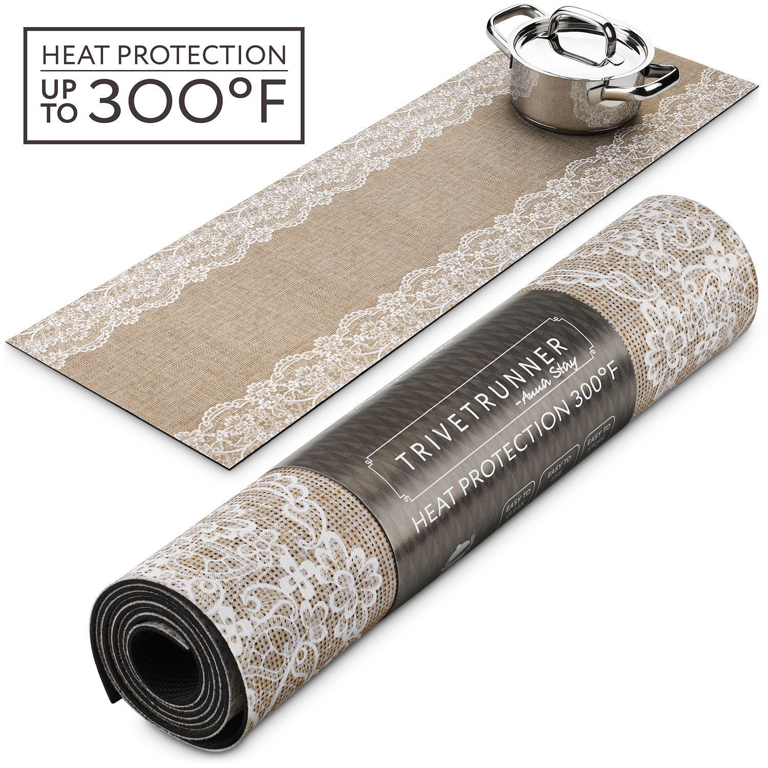 Trivetrunner :Decorative Trivet and Kitchen Table Runners Handles Heat Up to 300F, Anti Slip, Hand Washable, and Convenient for Hot Dishes and Pots,Hand Washable (Jute and Lace)