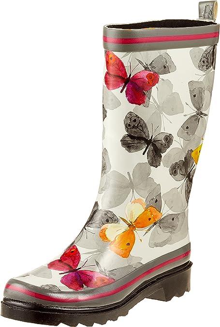 Stormwells Damen Schmetterling Aufdruck Schwarz Knöchel Gummistiefel Kurz