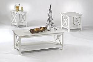 Progressive Furniture Seascape1 Tables, 3 Pack, Textured White