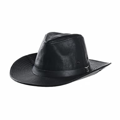 WITHMOONS Faux Leather Indiana Jones Hat Outback Hat Fedora CD8859 (Black) 4ec6cc4e77a