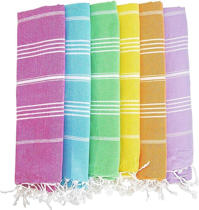 Havluland Juego de 6 toallas de baño turcas de algodón 100% para la playa o hamaca, juego absorbente de manta de Foua: Amazon.es: Hogar