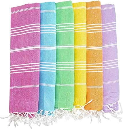 Amazon Com Havluland Set Of 6 100 Turkish Cotton Beach Pool Towel Absorbent Set 70 X 39 Kitchen Dining