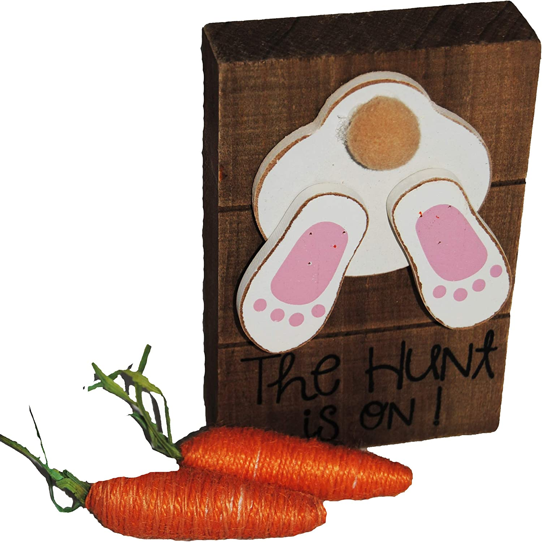Changing Seasons Rustic Wooden Easter Bunny Block Desktop Decoration (Brown Block)