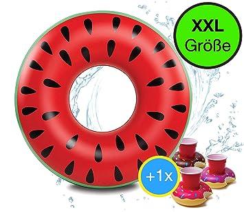 Gigante XXL 90 cm inflable donut sandía melón anillo de natación ...