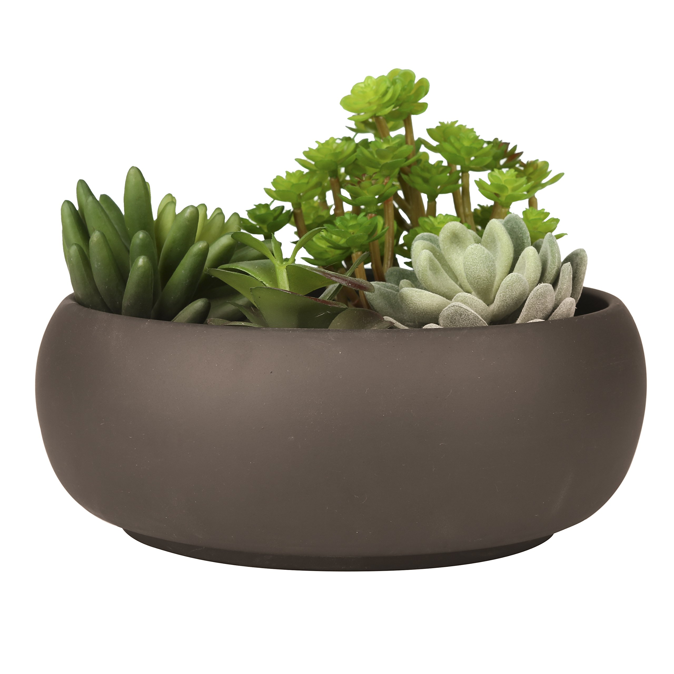 Modern Unglazed Round Ceramic Succulent Cactus Planter Pot with Brown Matte Finish by MyGift