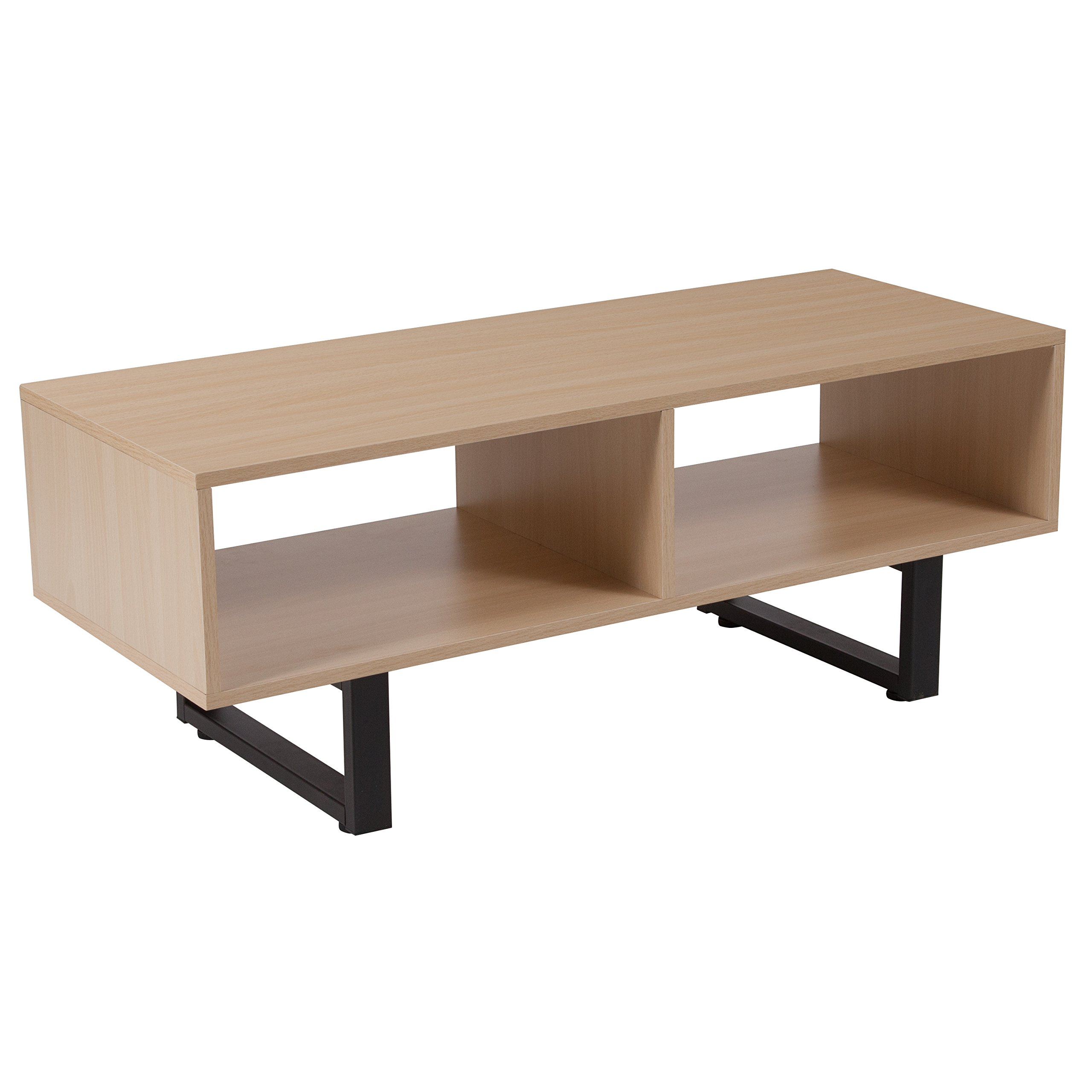 Flash Furniture Hyde Square Collection Beech Wood Grain Finish TV Stand and Media Console with Black Metal Legs by Flash Furniture