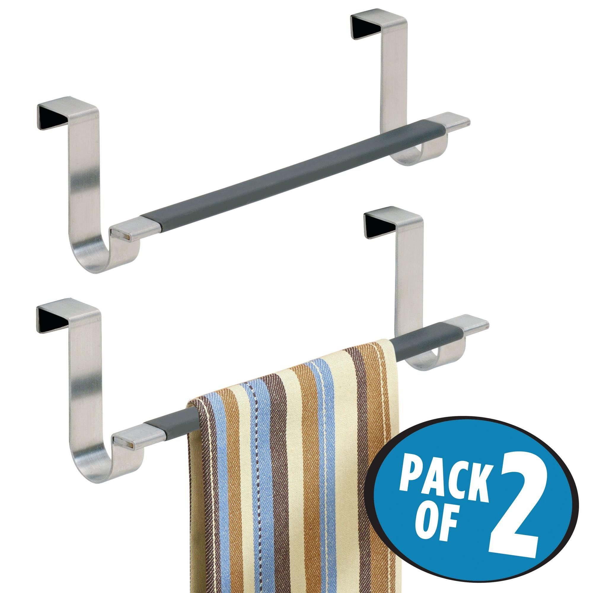 mDesign Decorative Kitchen Over Cabinet Towel Bar - Hang on Inside or Outside of Doors, Storage and Display Rack for Hand, Dish, and Tea Towels - 9'' Wide, Pack of 2, Brushed Stainless Steel by mDesign