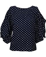 Amayra Women's Navy Blue Printed Cold Shoulder Long Sleeves Polka Dotes Top