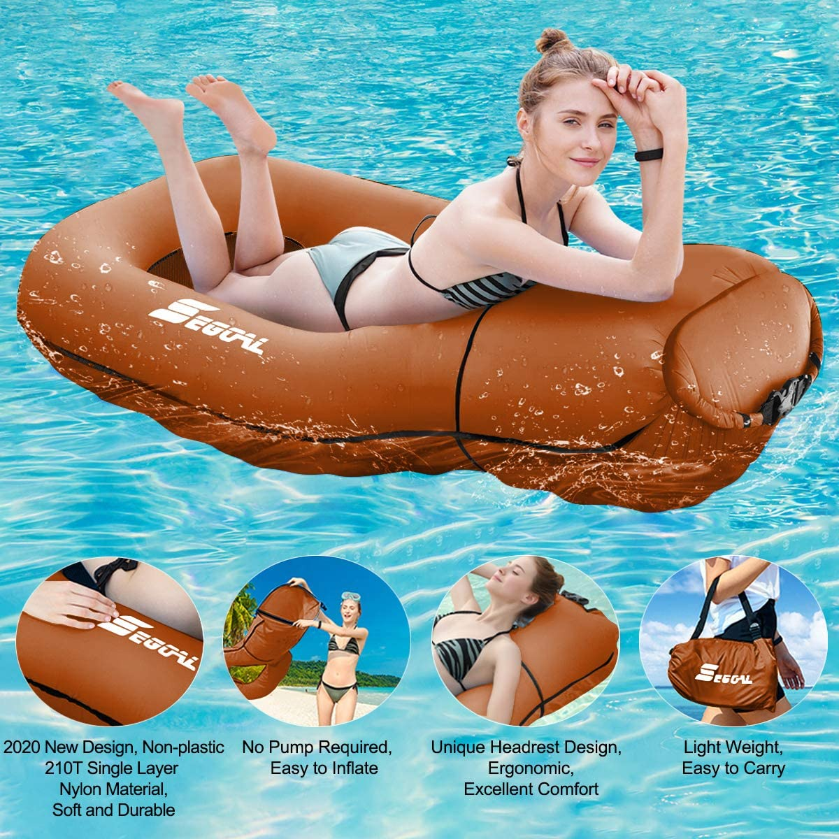 2020 Pool Floats Inflatable Floating Lounger Chair Water Hammock Raft Swimming Ring Pool Toy for Adults /& Kids 3 Seconds Filling The Air Lightweight Single Layer Nylon Fabric No Pump Required