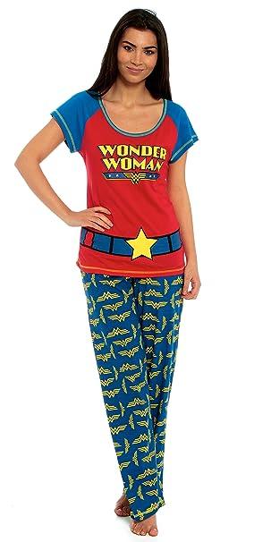 Juego de Wonder Woman traje de neopreno para mujer producto oficial de pijama 100% algodón