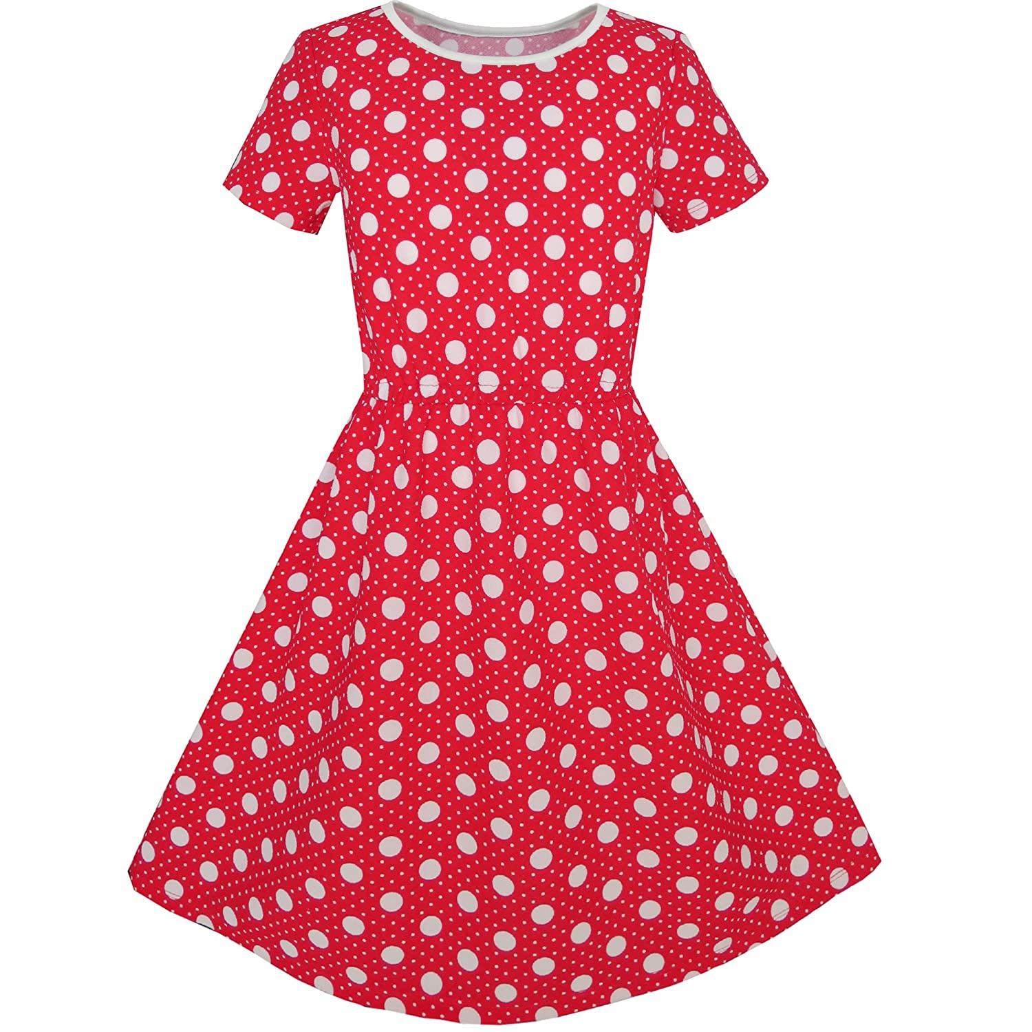 Sunny Fashion Girls Dress Dot Bow Tie Short Sleeve Summer Beach Size 4-12