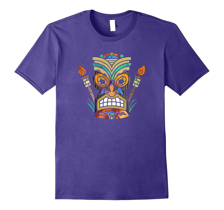 Cool Luau Tiki Head Torch Watercolor Pool Party T Shirts-PL