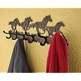 HeavenlyKraft Wild Horse Running Black Metal Wall Art Cloth Hanger with 6 Hooks (Size 18.1 X 5.5 X 2.2 Inch)
