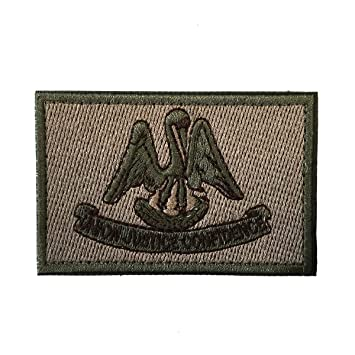 ARMY MORALE TACTICAL HOOK LOOP PATCH USA Louisiana LA STATE FLAG U.S