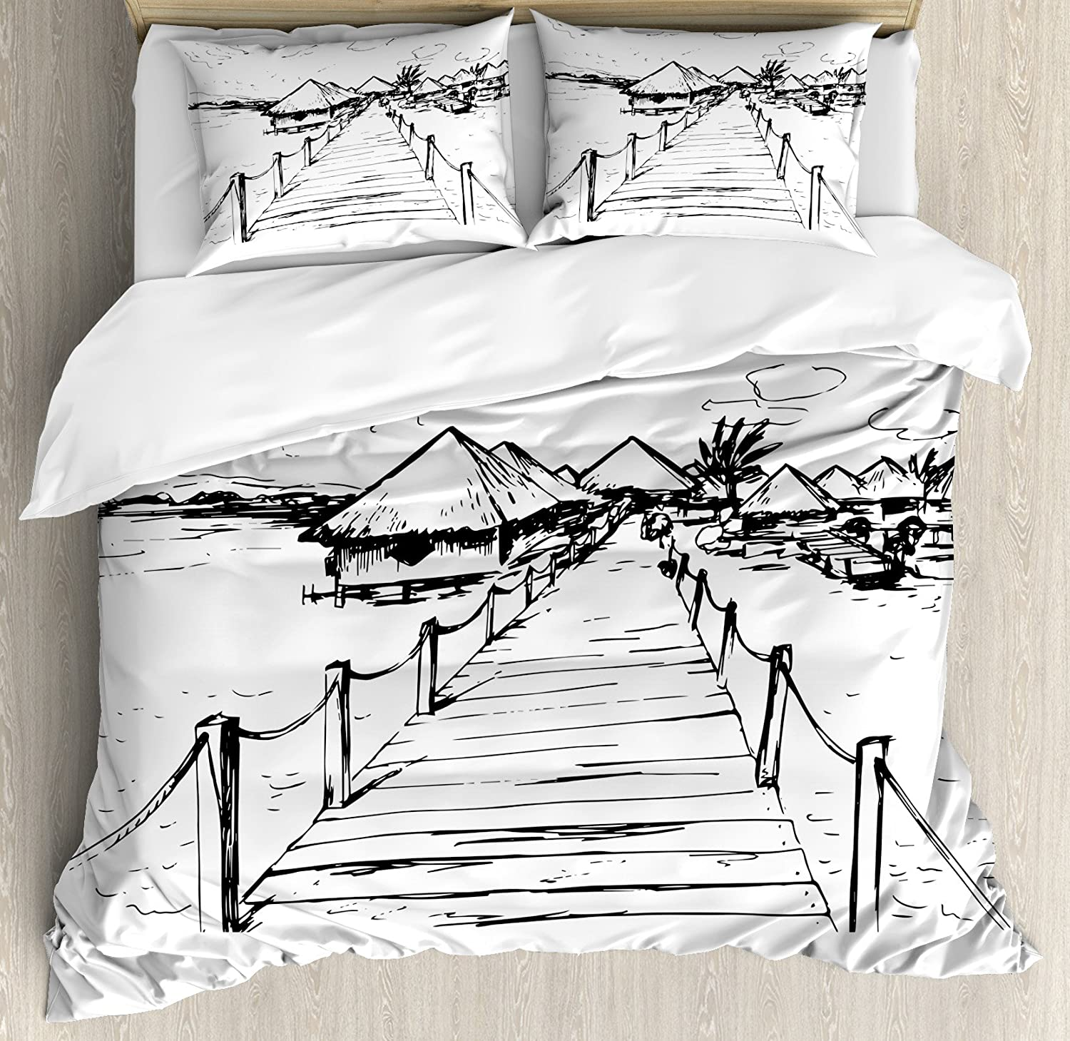 Ambesonne Hawaiian Duvet Cover Set King Size, Sketch Style Hawaii Dock Tiki Huts Bungalows Tropical Trees Beachy Boho Design, Decorative 3 Piece Bedding Set with 2 Pillow Shams, Black White