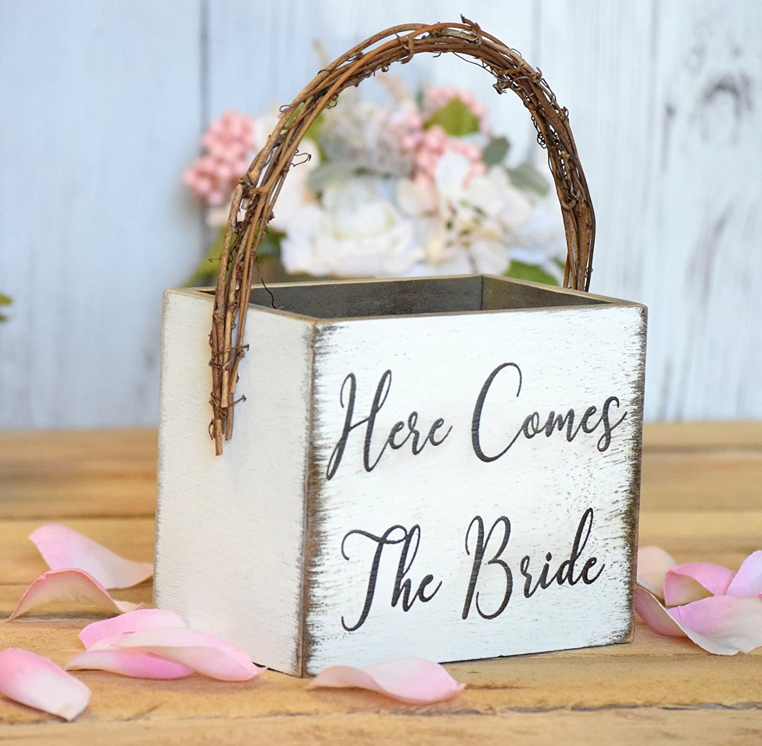 Amazon.com: Here Comes The Bride Rustic Flower Girl Basket ...