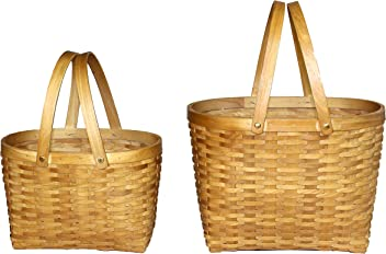 Vintiquewise(TM) Oval Chip Shopping Baskets Set of 2