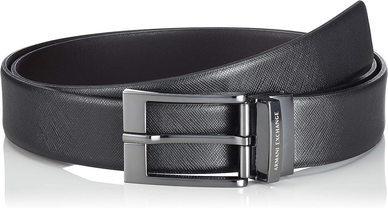 Armani Exchange Leather Belt with Plaque Cinturón para Hombre