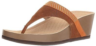 3763f4123285 SoftWalk Women s Heights Wedge Sandal Cognac Gold 5 ...