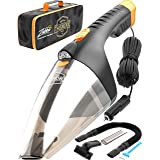 Car Vacuum Cleaner high Power - 110W 12v Corded auto Portable Vacuum Cleaner for Car Interior Cleaning - Lightweight DC Car Vac - Nozzle Set - Mini Handheld Car Vaccuume Cleaner for Men Women Black