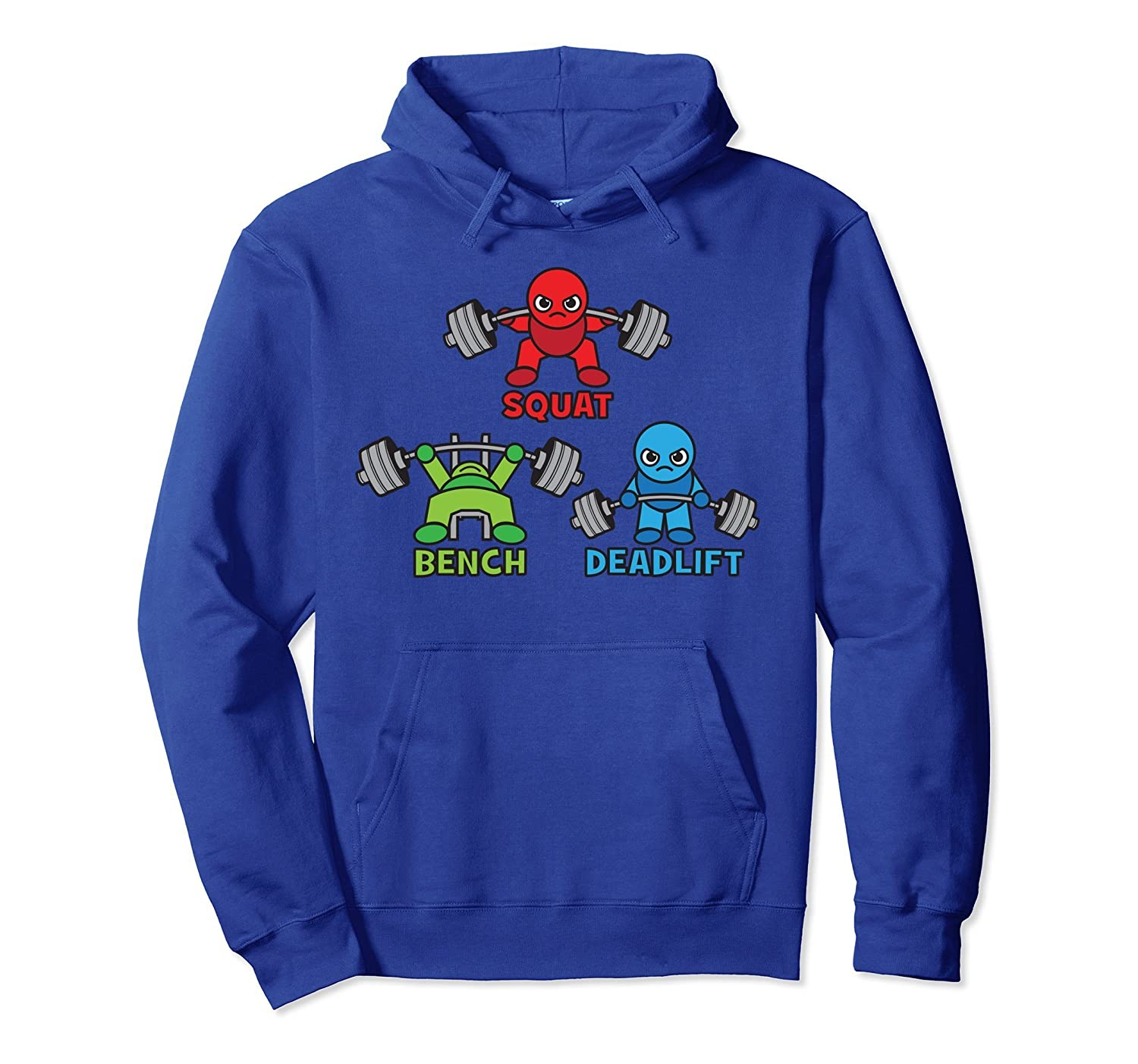 Squat, Bench Press, Deadlift, Cartoon Character - Gym Hoodie-fa