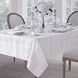 Elegance Plaid Contemporary Woven Solid Decorative Tablecloth by Newbridge, Polyester, No Iron, Soil Resistant Holiday Tablecloth,52 X 52 Square, White