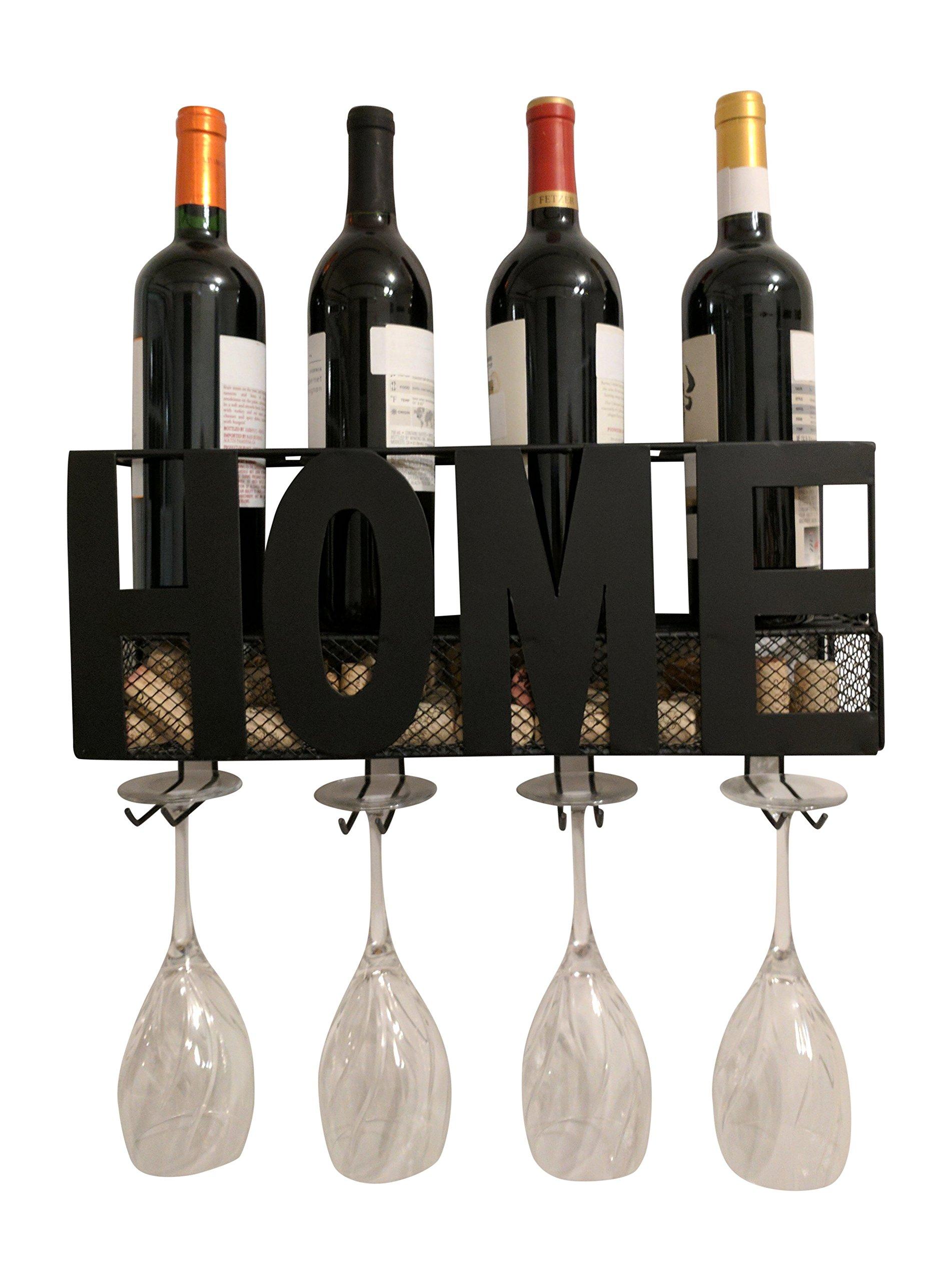 Gianna's Home Metal Wall Mounted Wine Rack and Cork Holder (Home)