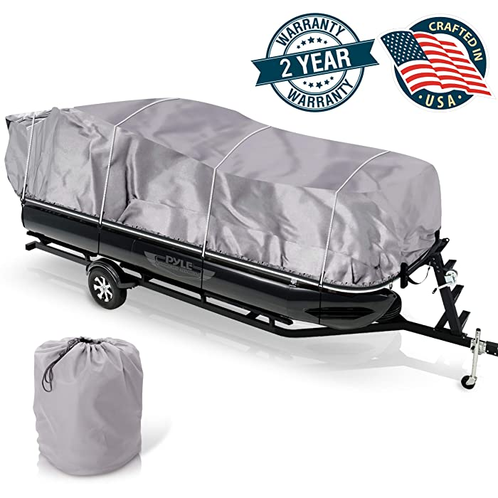 """Universal Boat Adjustable Storage Cover - 25'-28'L to 96"""" Pontoon Boats Protection Custom Heavy Duty Waterproof Mildew Weather Resistant Polyester Fabric, Snap Strap, Elastic Cord, Bag - Pyle PCVHP442"""