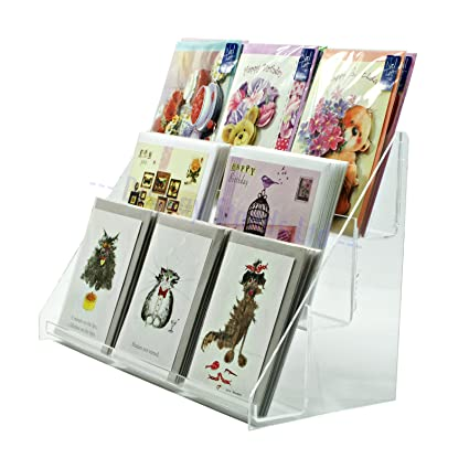 Clear Acrylic 3 Tier Greeting Card Stand For Retail Display Counters Ds43 400