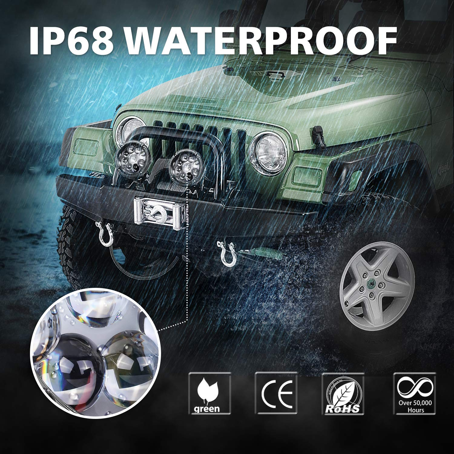 2 Years Warranty LED Pods 5 AKD Part 168W Offroad Driving Light ...