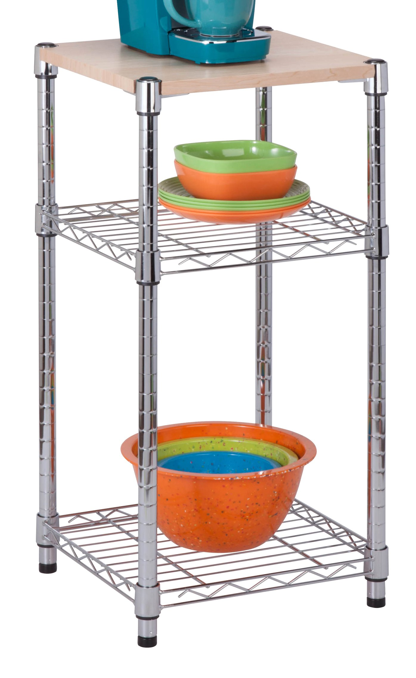 Honey-Can-Do SHF-04345 3-Tier Steel Shelving Unit with Wood Top, Chrome, 14L x 15W x 30H