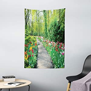 Ambesonne Garden Tapestry, Tulips in Keukenhof Gardens and Path Along Colorful Flowers Trees Nature Landscape, Wall Hanging for Bedroom Living Room Dorm Decor, 40