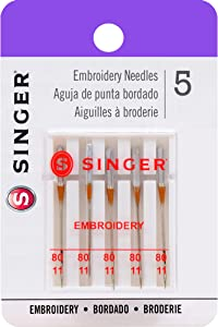 SINGER 04727 Universal Embroidery Sewing Machine Needles, Size 80/11, 5-Count