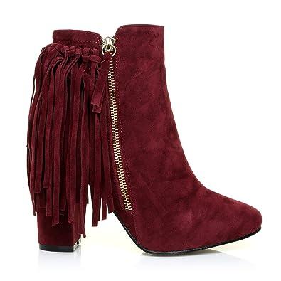 JORDAN Burgundy Maroon Faux Suede Block Heel Fringe Ankle Boots