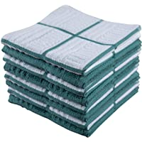 Sticky Toffee Cotton Terry Kitchen Dishcloth, 8 Pack, 12 in x 12 in, Blue Check