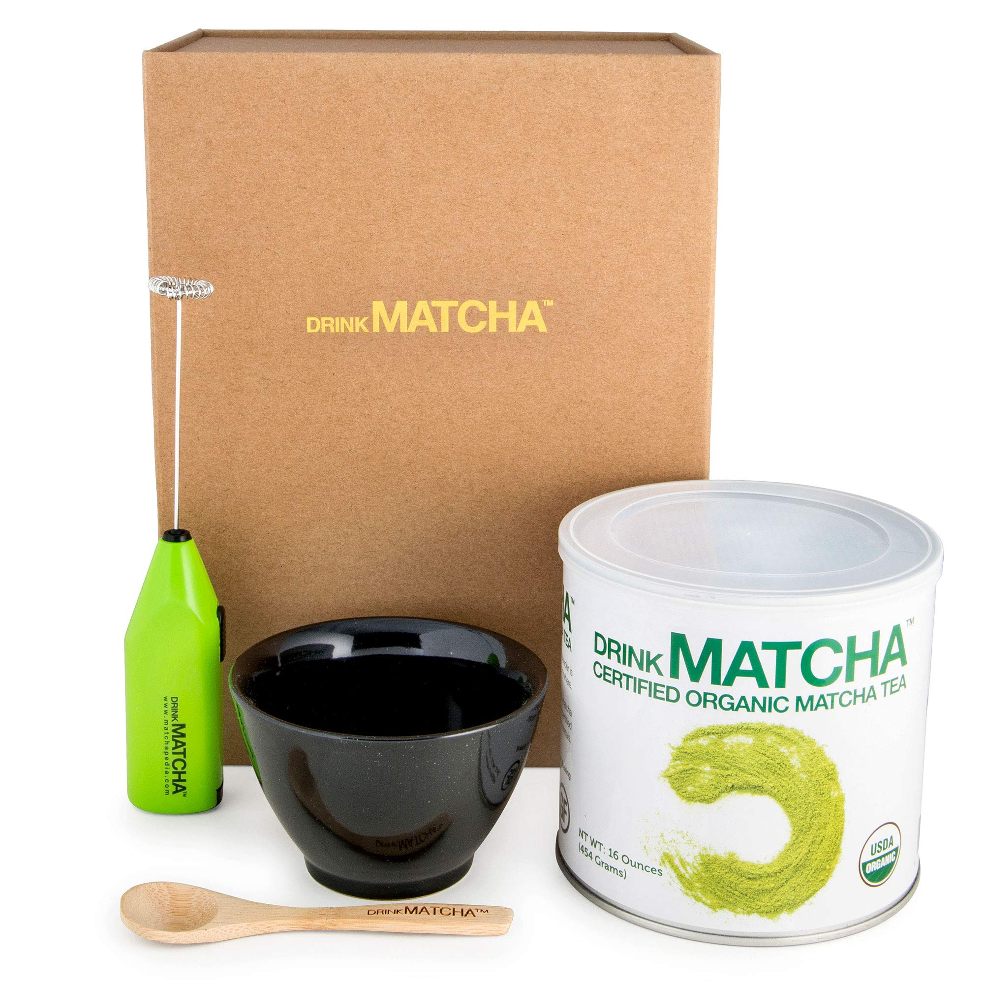 Drink Matcha Organic Green Tea Powder Set Bundle with Ceramic Tea Bowl, Handheld Electric Whisk and Bamboo Spoon, 16 oz. by DRINK MATCHA