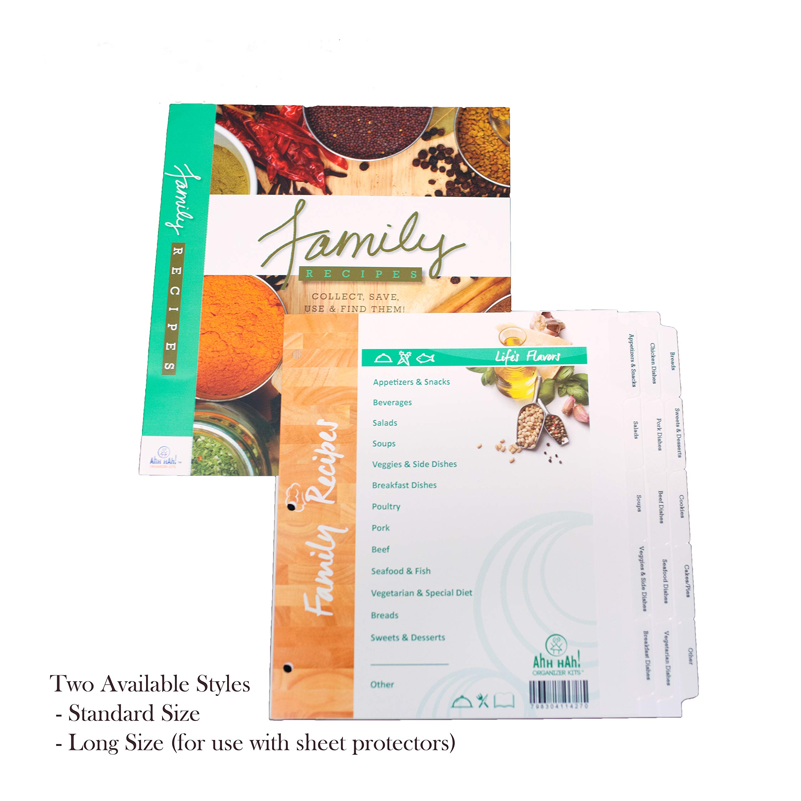 Ahh Hah! Family Recipe Organizer Kits: LONG Index Tabs for Three-ring Binder with Cover