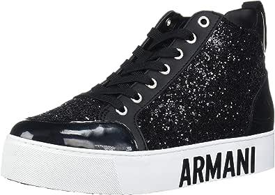 A|X Armani Exchange Women's Sneaker High Top with Glitter Walking Shoe, Black, 39M Medium EU (8 US)
