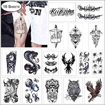 amazon com cokohappy 16 sheets black large temporary tattoo for
